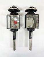 Kutschlampen eckig schwarz/chrom 12x46cm Paar