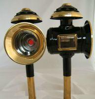 Kutschlampen schwarz/messing 14,5x40cm Paar