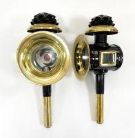 Kutschlampen schwarz/messing 17x42cm Paar
