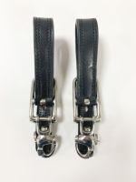 Aufhalter. Paar m Panikhaken 90mm, schmales Leder